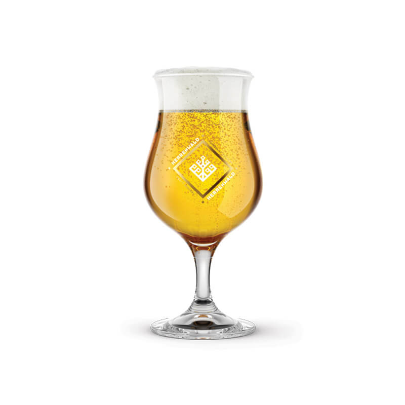 Beer glass with logo for HERRENWALD craft brewery