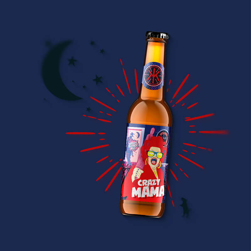 Craft beer label, packaging design CRAZY MAMA for IKKONA craft brewery