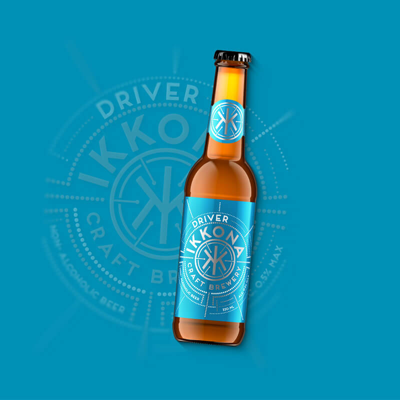 Craft beer label, packaging design non alcoholic beer DRIVER for IKKONA craft brewery
