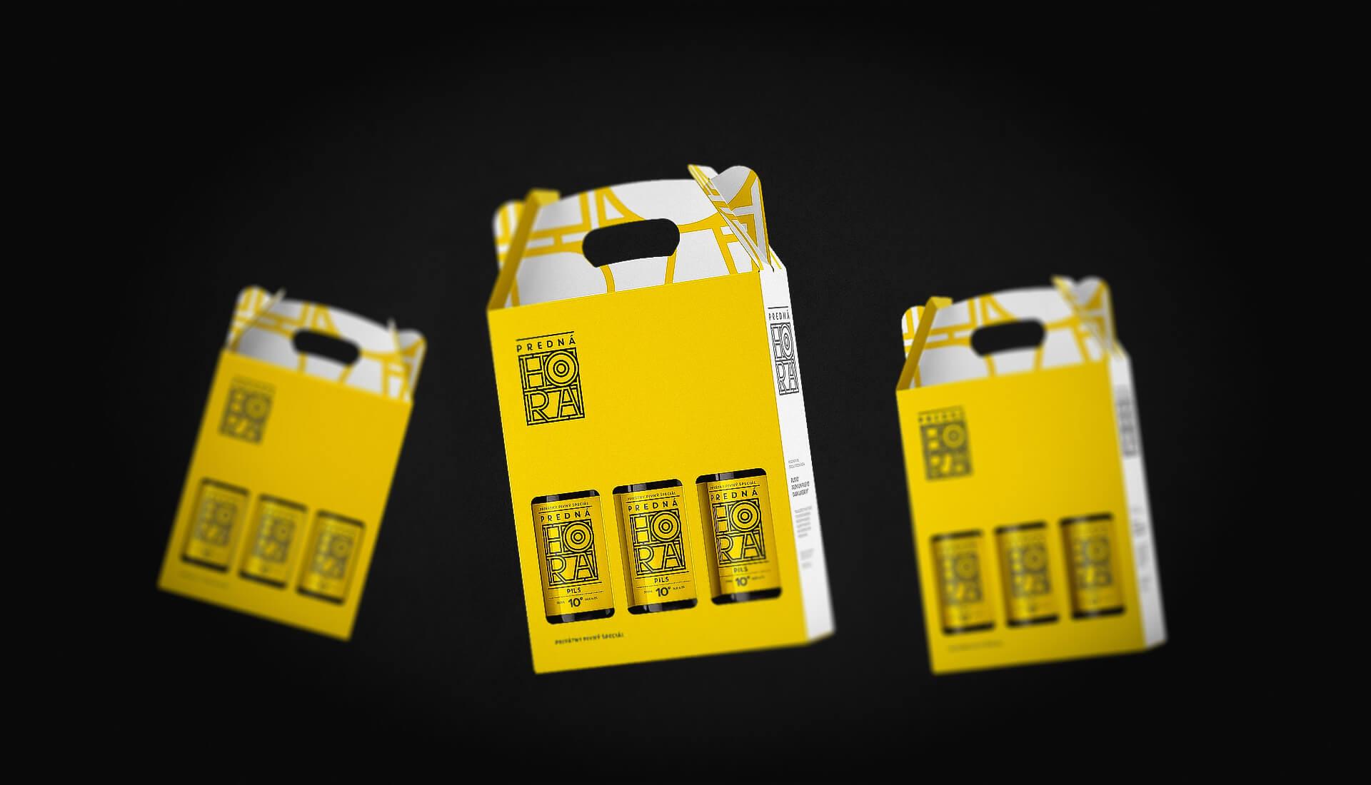 Etiketa na pivo, obalový dizajn darčekévý obal žltý Predná Hora