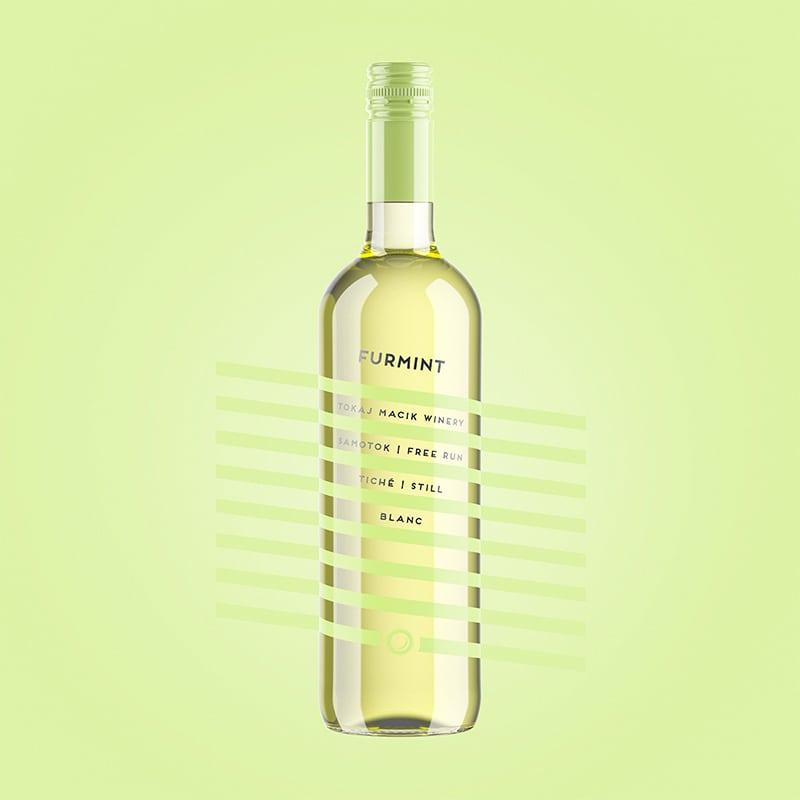 Wine label, packaging design Furmint - Free Run for TOKAJ MACIK WINERY